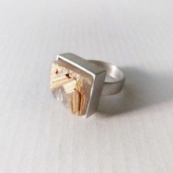 Silver ring and rutile quartz UNIQUE PIECE