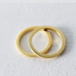 Wide square gold wedding ring