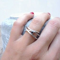 Rhodium plated silver ATW ring with a black diamond