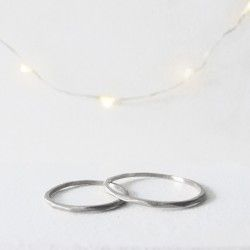 White gold thin faceted ring