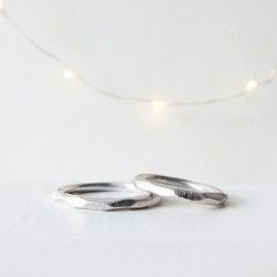 White gold wedding ring wide facet