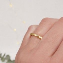 Gold and diamond LINE ring
