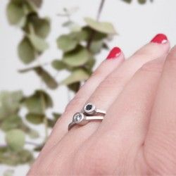 Silver ring with black diamond