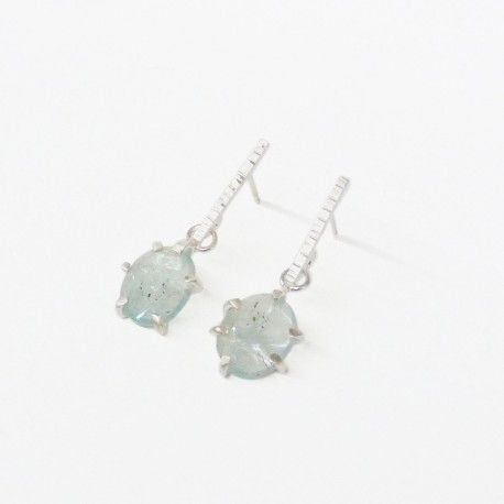 Silver earrings and natural stones