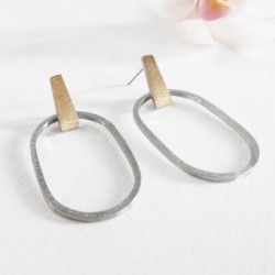Barcelona oval silver and gold earrings