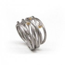 ANNIVERSARY silver and gold ring with three genuine diamonds