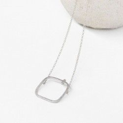 Rhodium silver and 2 diamonds necklace MIRROR