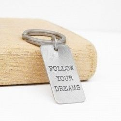 FOLLOW YOUR DREAMS silver keychain
