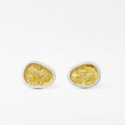 ALBA gold leaf silver earrings