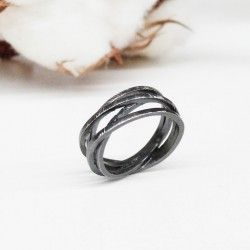 Oxidized silver ring ATW