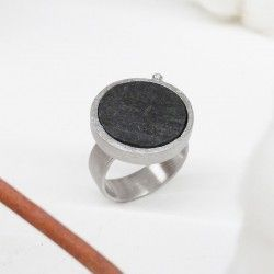 Silver ring with slate and diamond