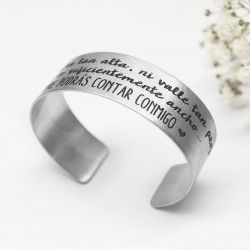 Personalized silver wide bracelet
