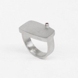 Square silver and ruby ​​ring
