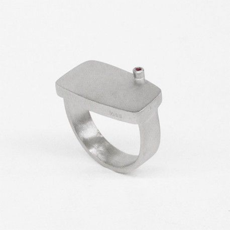 Square silver and ruby ring