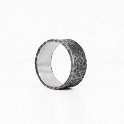 Hammered silver ring IRON