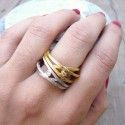 Gold-plated silver ATW ring with a diamond