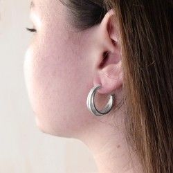Rhodium silver hoop earrings ATW
