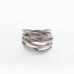Wide rhodium silver ring ATW