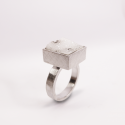 Druzzy white agate in a sterling silver ring