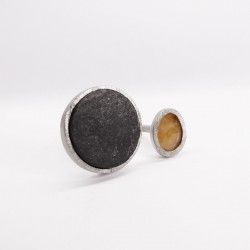 ONE OF A KIND agate and slate silver ring