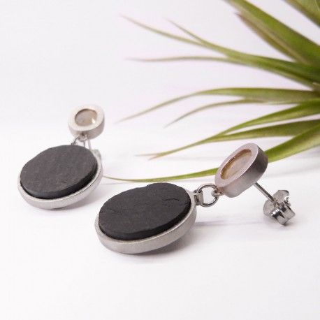 ONE OF A KIND silver earrings with agate and slate