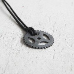 Oxidized silver pendant with cord