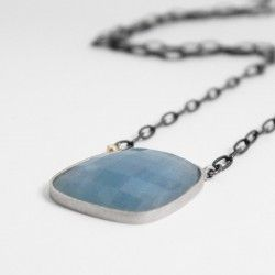One of a kind rhodium silver and gold with aquamarine
