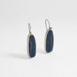 Silver and gold earrings with opal doublet and diamond